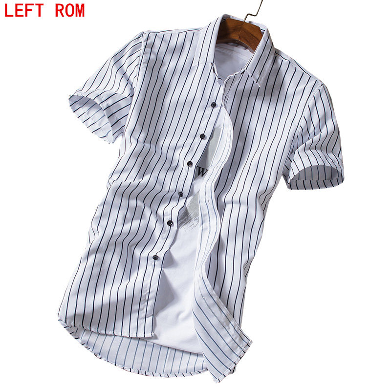 Summer Short-sleeved shirts Male Korean Version of Large Stripes Tooling British Business Casual Clothes Big size M-4XL 2017