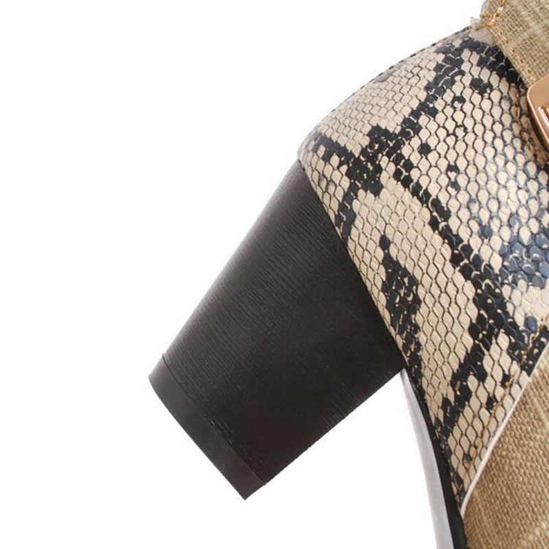 2019 г. новые зимние женские сапоги до середины икры на толстом каблуке бежевый, серый, Змеиный, PU/холщовый ремень, женские рыцарские сапоги с пряжкой Размер 40-43