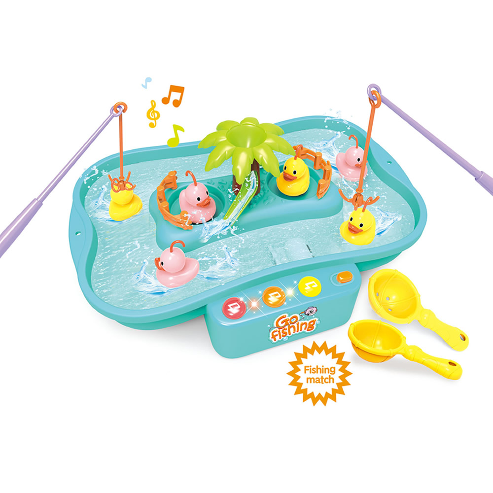 Kids Fishing Toys With Music Water Playing Toys Fish Duck Rod Set Pretend Play Indoor Fun Game For Children Toys Birthday Gifts