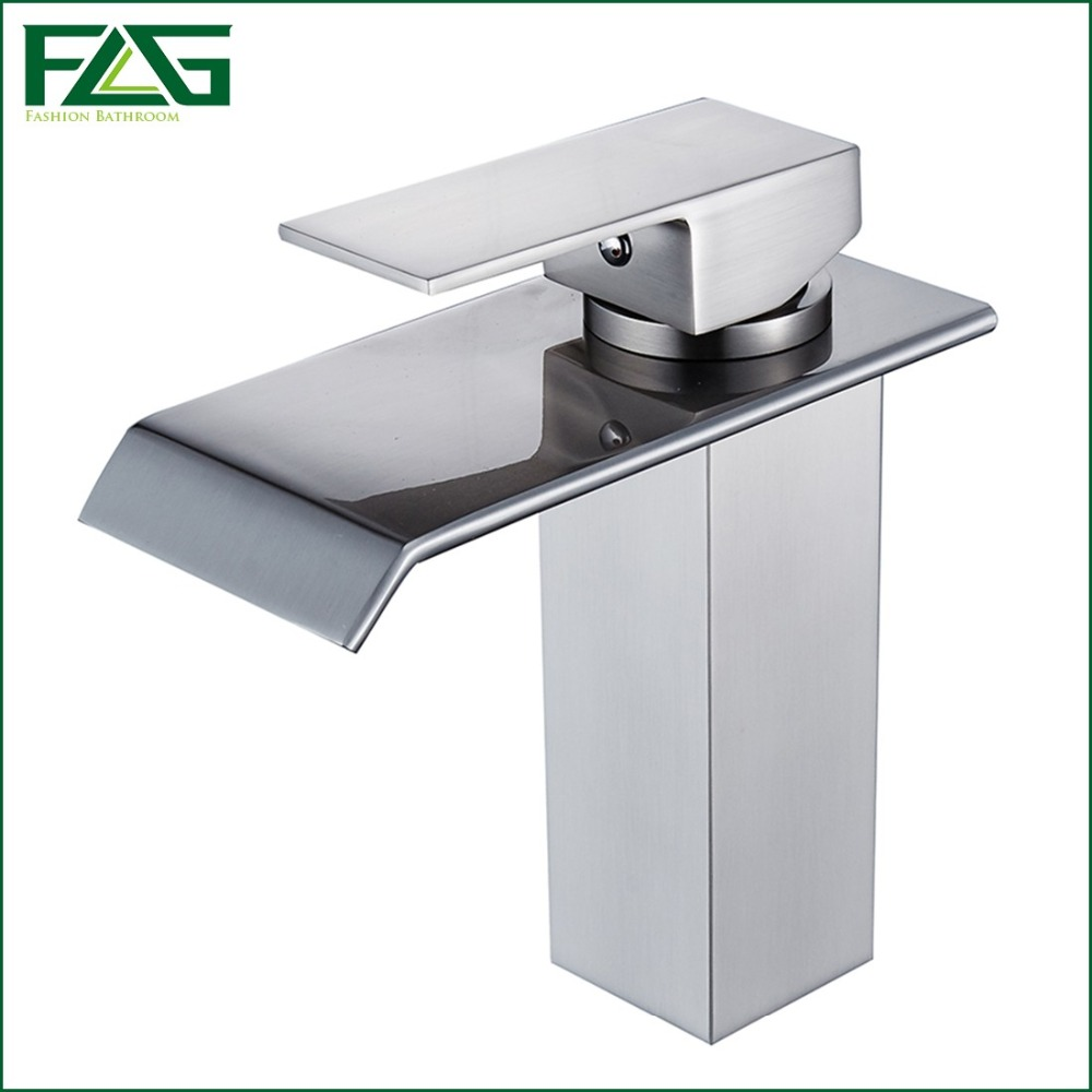 FLG Free Shipping Basin Faucet Deck Mounted Square Waterfall Sink Mixer Tap Brushed Nickel Fountain Bathroom