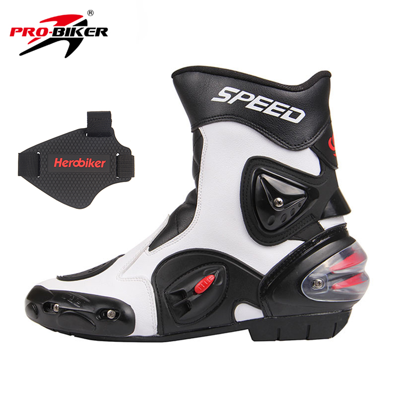 PRO-BIKER SPEED BIKERS Men Motorcycle Racing Shoes Leather Motorcycle Boots Riding Motorbike Motocross Off-Road Moto Boots A004 pro biker motorcycle saddle bag pattern luggage large capacity off road motorbike racing tool tail bags trip travel luggage