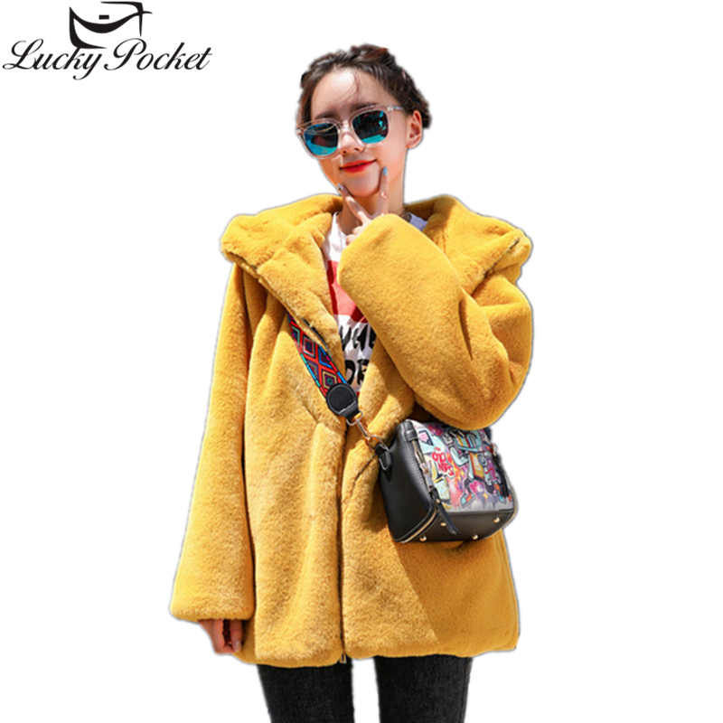 Winter Women Thick Warm Hooded Faux Fur Coat Female Casual Long Sleeve Rabbit Fur Jacket Fashion Plus Size Loose Parkas Z1010