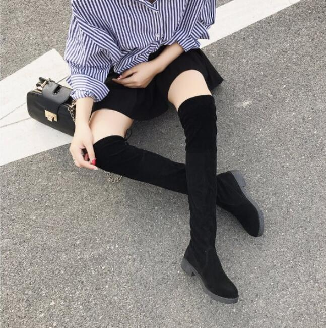 Over-The-Knee Boots Shoe-Botas Low-Heels Stretch Female Women Keep-Autumn/winter Warm