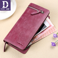 DIDE Genuine Leather Wallet for Female Wallets Big Travel Zipper Women's Purse Ladies Long Phone Holder Coin Purse 599