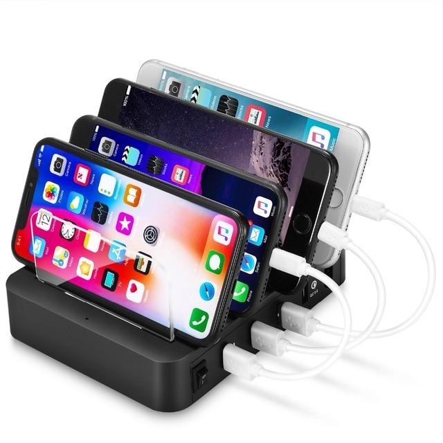 4 Ports USB Hub universel Multi dispositif Station de charge chargeur rapide amarrage 24W pour iPhone iPad Samsung Galaxy LG tablette PC HTC