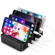 4 port USB Hub evrensel çoklu cihaz şarj İstasyonu hızlı şarj yerleştirme 24W iPhone iPad Samsung Galaxy LG tablet PC için HTC