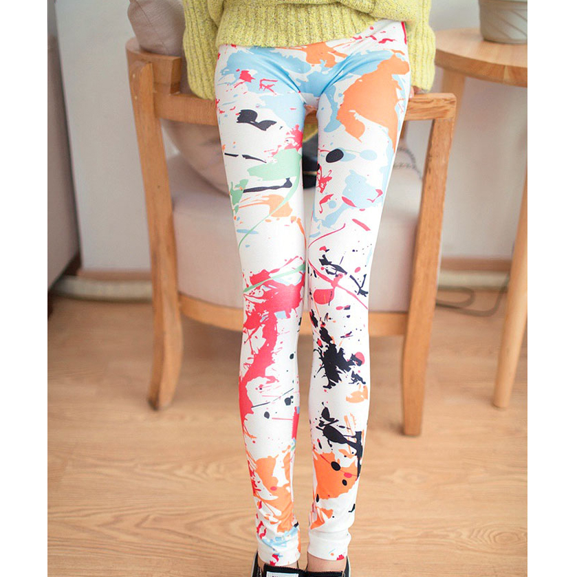 Print Long   Leggings   Chic Women Imitation Denim Flower Splashing Doodle Graffiti Print Thin Casual Summer   Leggings   For F