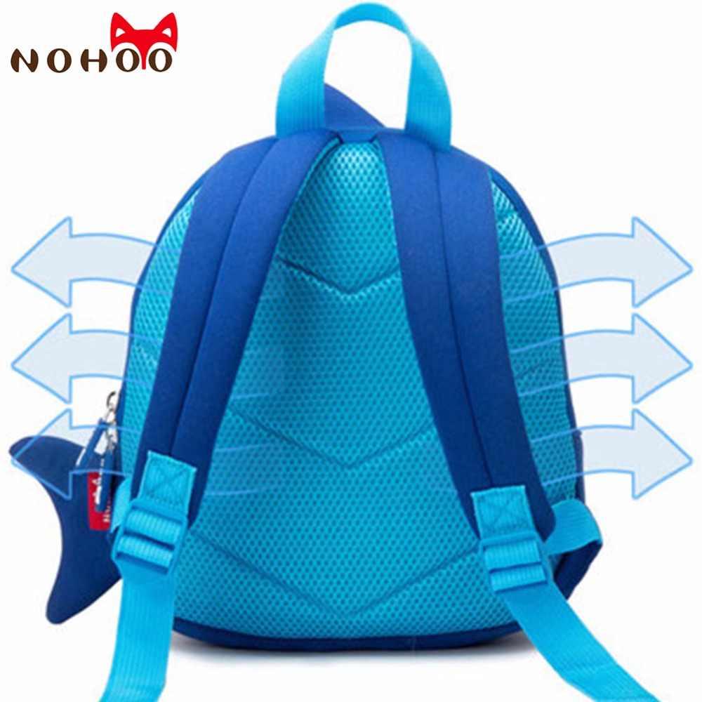 e59d3edbd81a ... NOHOO Waterproof School Bags Blue 3D Shark Kids Backpack Cartoon Animal Children  School Bags For Girls ...