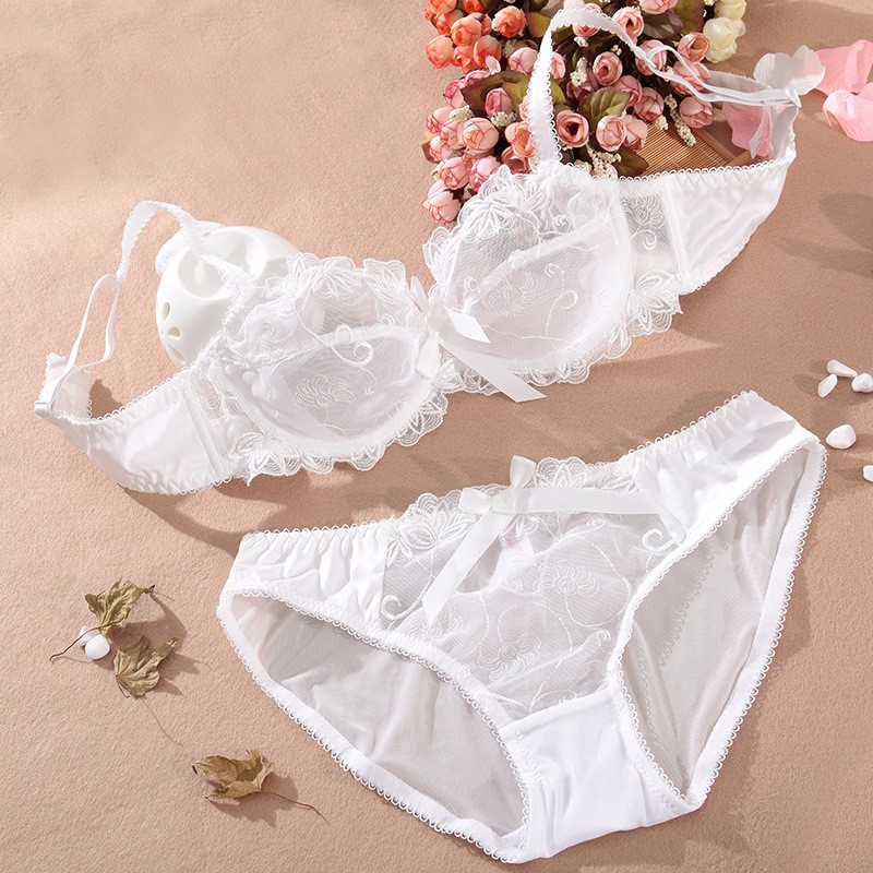 Shitagi France Women Sexy Ultra-thin Underwear Set Transparent Lace Bra & Brief Set Sweet Tow Bow Intimates For Girl Embroidery 27