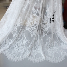 цена на 3Meter/lot 140cm wide Eyelashes lace trim off white black clothes lace fabric diy accessories eyelash lace fabric trim