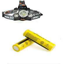 2pcs18650 Li-ion Rechargeable Batteries+1 Led Headlamp Energy Saving Headlight Phare Head Light Flashlight For Outdoor Hiking(China)
