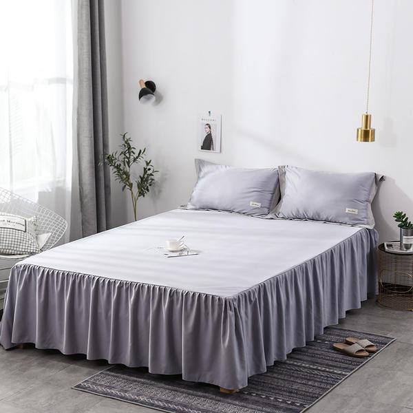Haute qualité 3 pc coton drap ensemble couvre-lit cadeau de mariage drap housse antidérapant roi reine drap de lit jupe + 2 taie d'oreiller
