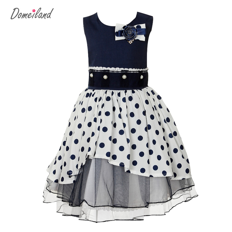 new 2017 fashion autumn domeiland kids clothing for girl sweet cotton party dress Wave point  navy sleeveless lace dresses
