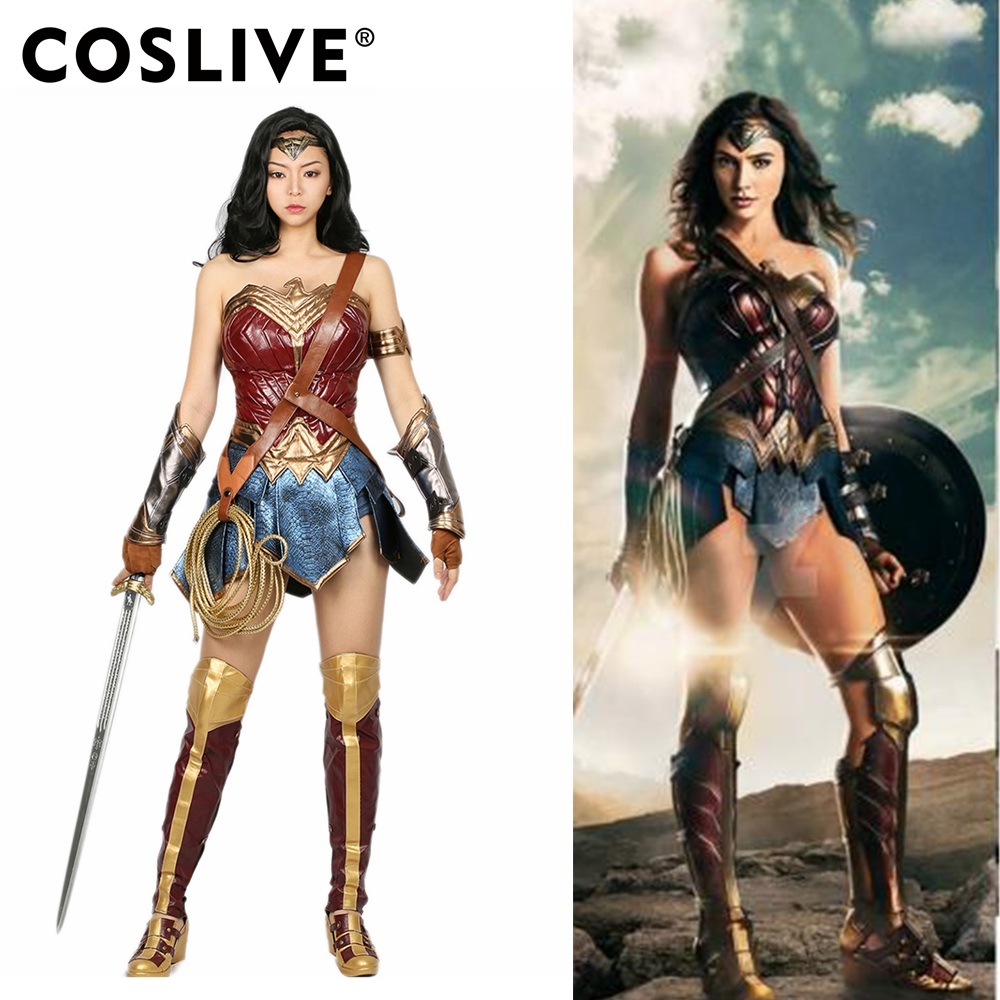 Coslive Original Design Halloween Movie Cosplay Wonder Woman Cosplay Costume Lady Superhero Full Outfit For Canival Party Show