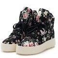 Novas Mulheres Casuais Sapatos de Plataforma Floral Lace Up Canvas Formadores Respirável Sapatos Cesta Femme Zapatillas Tenis Feminino 35-39