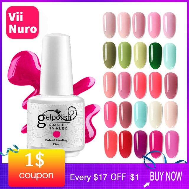 ViiNuro 15 ML Semi permanente UV Gel esmalte de uñas o Led Gel barniz con 48 colores serie de Color claro Base abrigo y capa superior mate