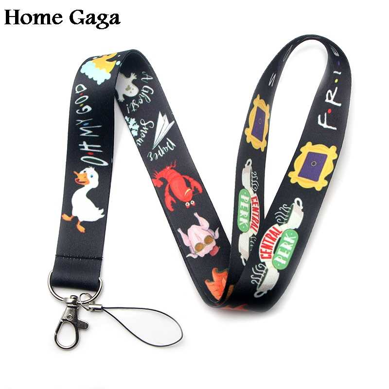 Homegaga Friends Tv show keychain lanyard webbing ribbon neck strap fabric para id badge phone holder necklace accessories D1473