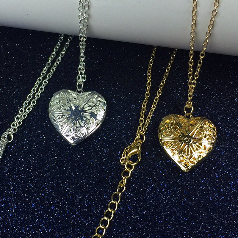 photo inside fashion women hollow sliver heart pendant long chain