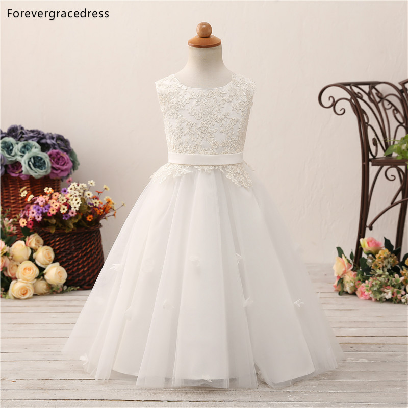 Forevergracedress Elegant Lovely   Flower     Girls     Dresses   2019 A Line Lace Sleeveless Lace Up Back Kids Pageant Children Gowns