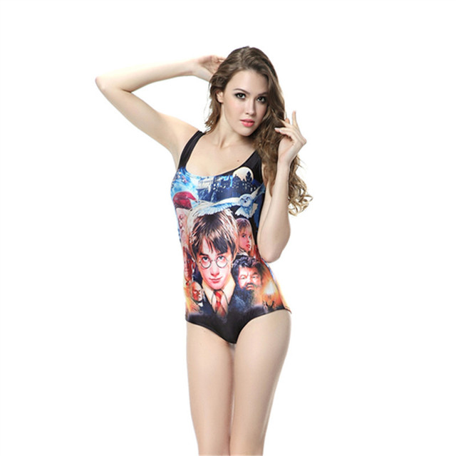 2015 New Summer Style Women Digital Printing Backless Bathing Suit One Piece Swimsuits Harry Potter Hogwarts Swimwear For Women