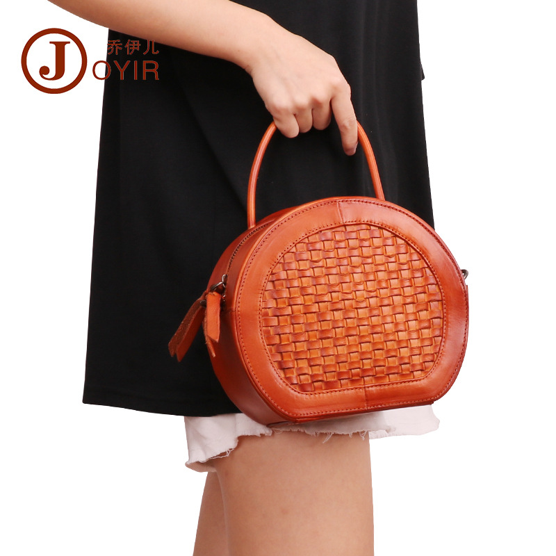Joyir Genuine leather shoulder Women bag Mini Woven Pure color women handbags circular vintage Shoulder woman top-handle bags 2 sets for komatsu pc210 5 boom cylinder repair seal kit excavator service kit 3 month warranty