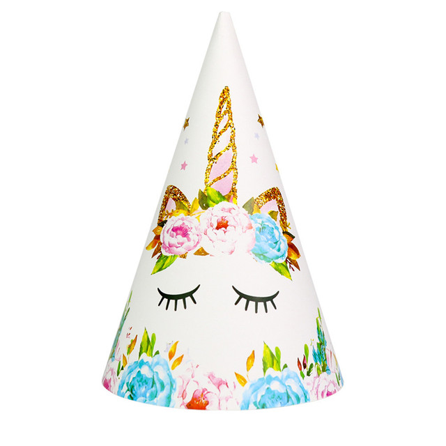 6pc Set Happy Birthday Hat Unicorn Party Paper Girl Boy Kids Event Supplies Decoration