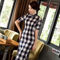 New Vintage Plaid Cheongsams Chinese Traditional Dress Cheongsam Women Sexy Half Sleeve Stand Collar Long Qipao CC212