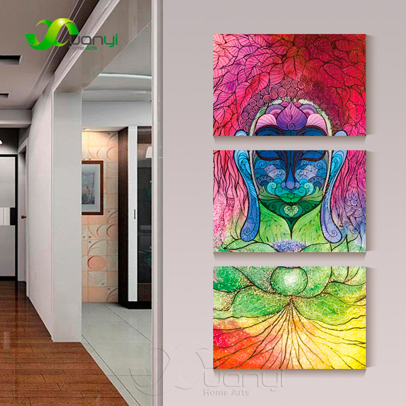 3 panel abstract watercolor buddha wall art canvas decor painting for living room buddha paintings poster wall picture unframed in painting calligraphy