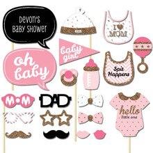 Azul Pink Baby Shower Funny Photo booth Atrezzo Es un el niño Me Encanta Mamá Bebé Ducha Fiesta de Cumpleaños DecorationPhotocall Props