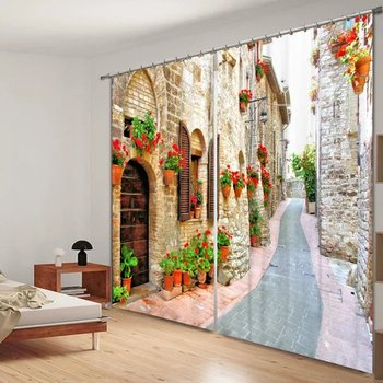 Classical architecture Street 3D Print Curtain For Bedding room Living room Office Wall Home Tapestry Decorative Drape Cortinas