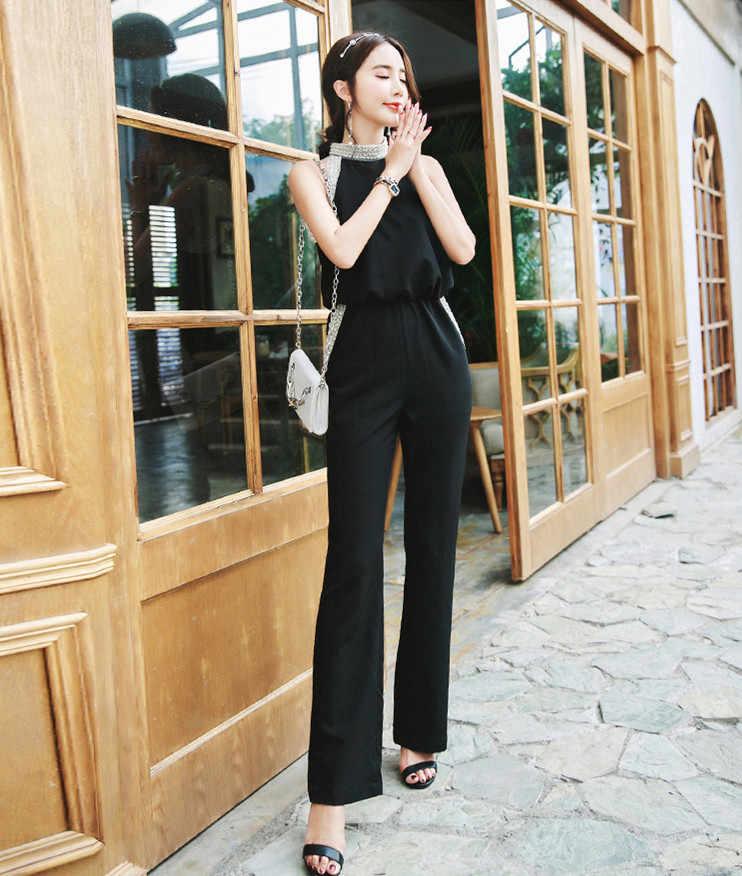Clobee без рукавов Холтер Летний комбинезон 2018 OL стиль для женщин Элегантный Ретро Офисная Рабочая одежда боди черные комбинезоны HJ325