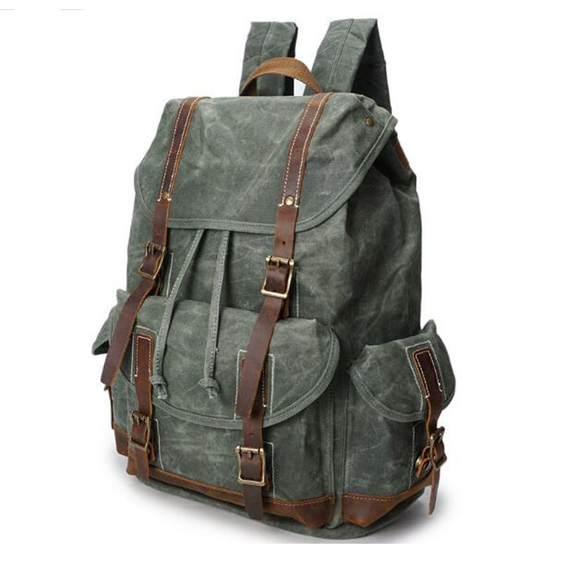 Retro Solid color Wax Waterproof Canvas Back pack Man With CRAZY HORSEHIDE Computer Laptop large Capacity School Backpacks