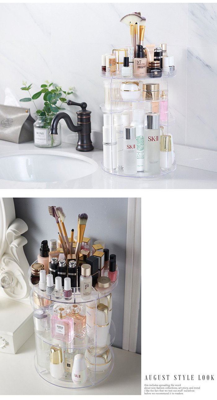 EllePeri.Com: Declutter your personal space by putting all beauty Cosmetics essentials in EllePeri 360° Rotating Makeup Organizer Acrylic makeup organizer