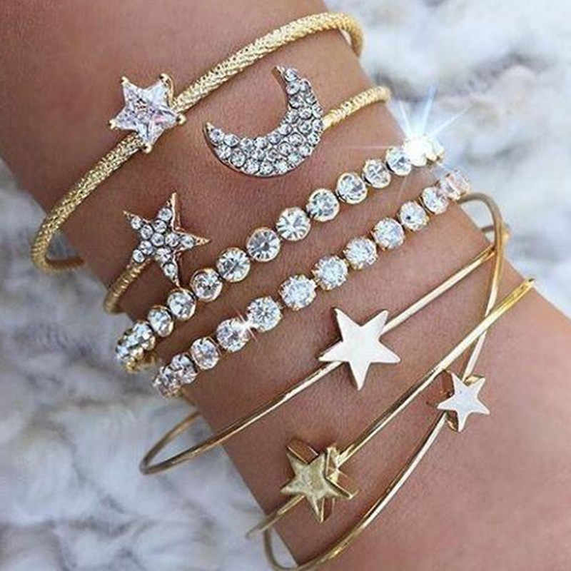 Retro Punk Simple charm Moon star Bracelet  heart crystal elasticity bracelet party jewelry accessories for women NS47