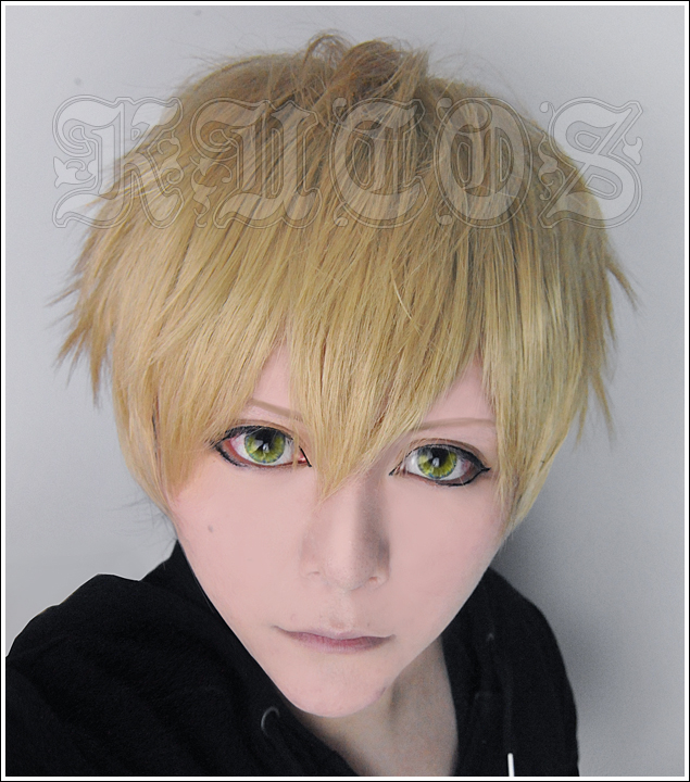 Heat Resistant Anime One Punch Man Genos Short Flaxen Costume Full Lace Cosplay Wig +Free Wig CAP