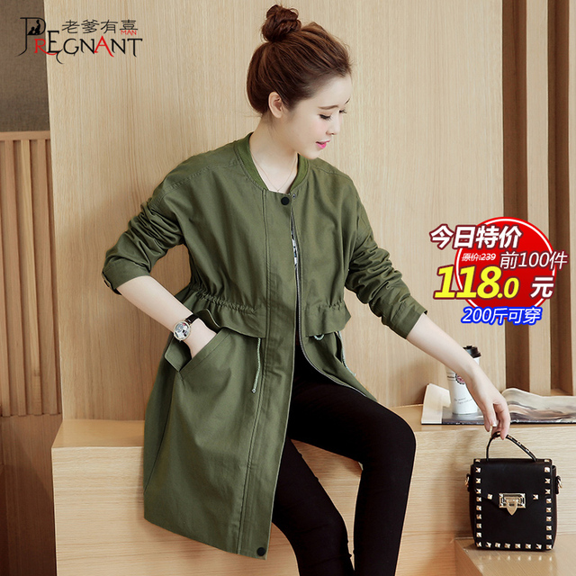 Maternity clothing autumn maternity outerwear fashion casual clothing 100% cotton plus size 200 top adjustable spring and autumn
