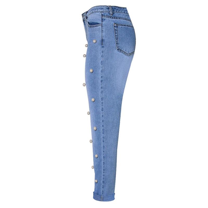 DHIHKK 2018 White Pearl Embellished Studded Jeans Women High Waist Cropped Denim Pants