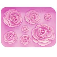 M1023 роза цветы силиконовая форма торт шоколадная форма свадебный торт украшения инструменты помадка сахарное ремесло форма для торта