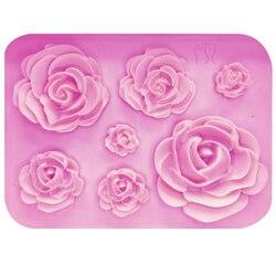 M1023 rosas flores silicona molde de tarta de chocolate molde boda pastel decoración herramientas Fondant Sugarcraft pastel molde