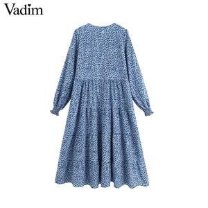 Image 2 - Vadim נשים שיק הדפסת שמלה ארוך שרוול O צוואר קו גבוהה מותן נקבה קרסול אורך שמלות vestidos QC560