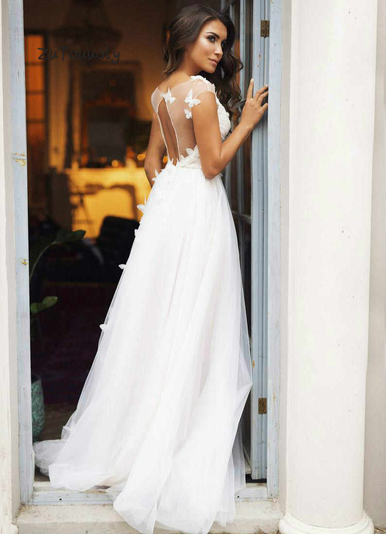 2020 Sexy Open Back Bohemian Wedding Dresses Butterfly Boho Backless Wedding Dress Summer White Bridal Gowns For Women Plus Size