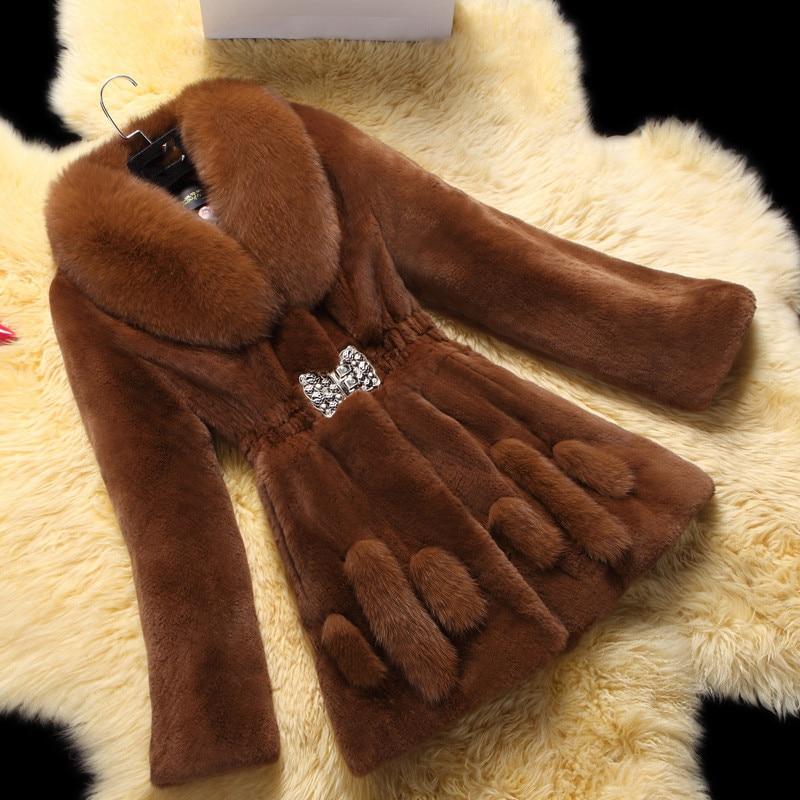 6XL Large Size Women's Fashionable Fur Coat 2020 Winter New Women Artificial Fox Fur Long Section Leisure Mink Fur Coat A1475