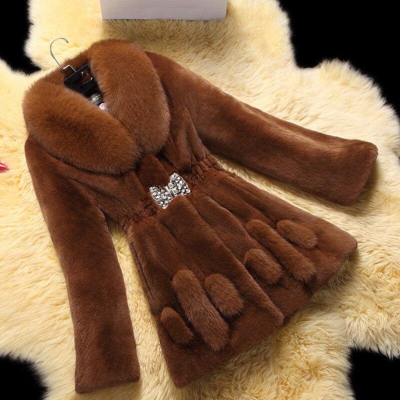 6XL Tamanho Grande das Mulheres da Moda Casaco De Pele 2019 Inverno Novo Mulheres de Pele De Raposa Artificial Longa Seção de Lazer Pele De Vison casaco A1475