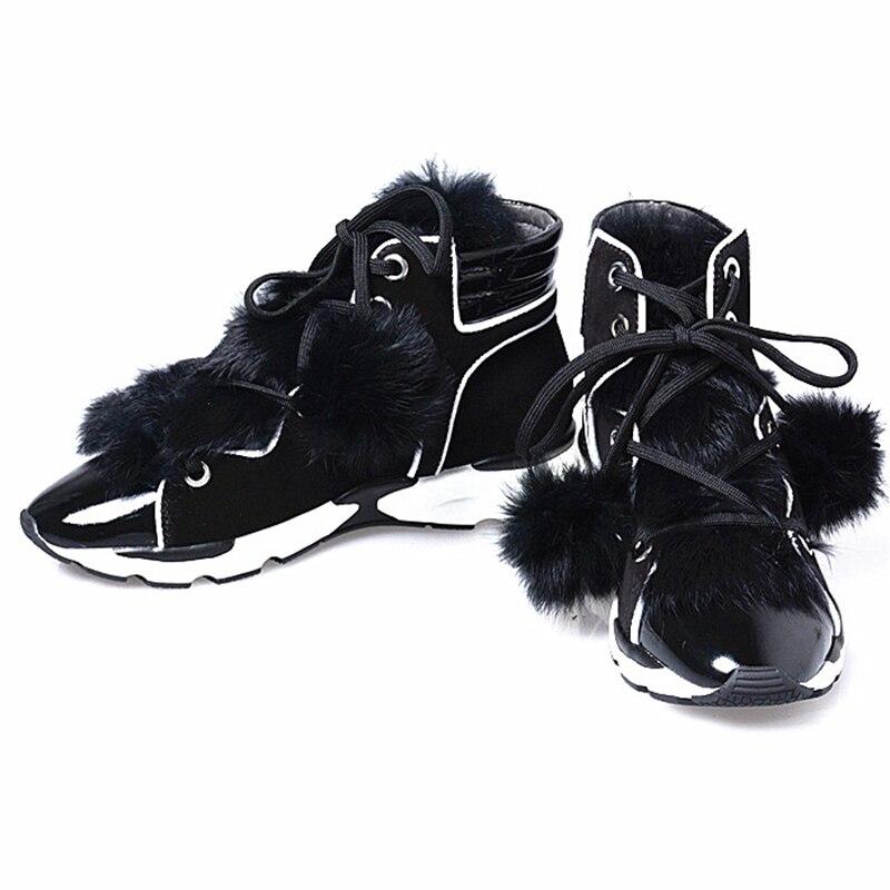 Leder Freizeit Black Perfetto Frau Mit Warme Up Echtem Spitz Lace Fell Patchwork Stiefel Kurze Stiefeletten Luxus Bunny Prova vt1qxTT