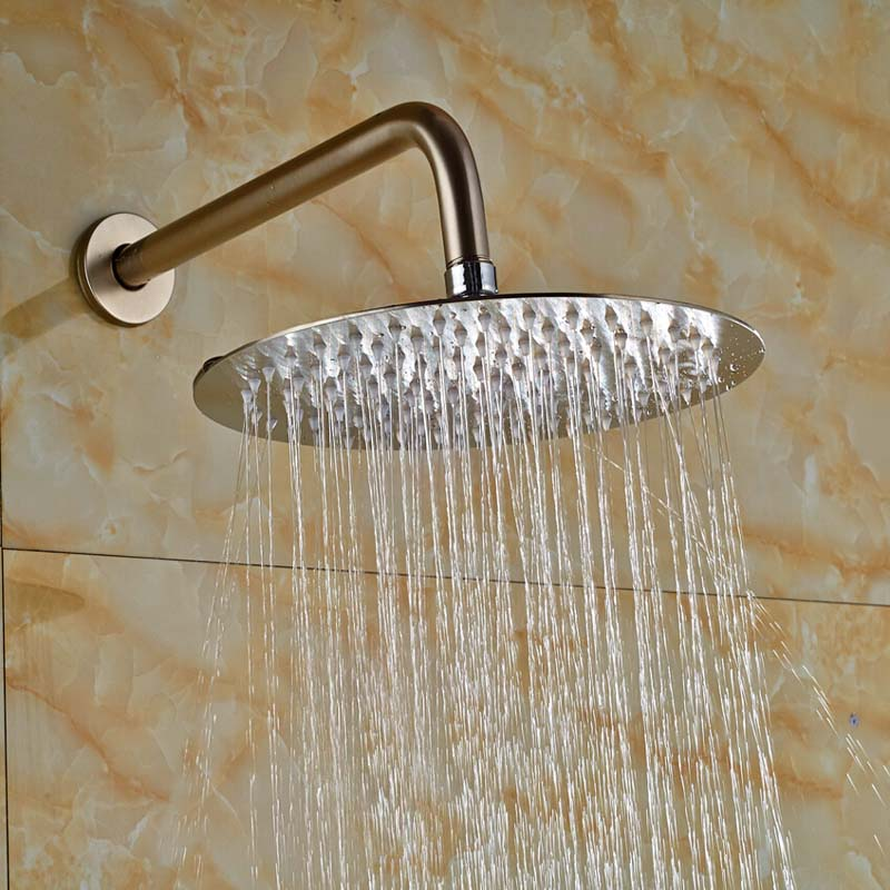 Wholesale And Retail Brushed Nickle Ultrathin Wall Mounted Round Rain Shower Head + Shower Arm Pipe Shower Sprayer hot sale wholesale and retail promotion new modern brushed nickel 12 rain shower head ultrathin shower head replacement