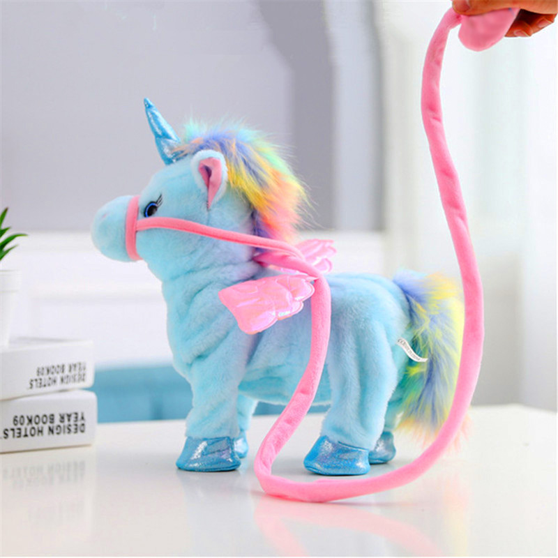Купить с кэшбэком Hot Electric Soft Stuffed Animal Doll Electronic Music Unicornio Party Walking Unicorn Plush Toy for Children Christmas Gifts