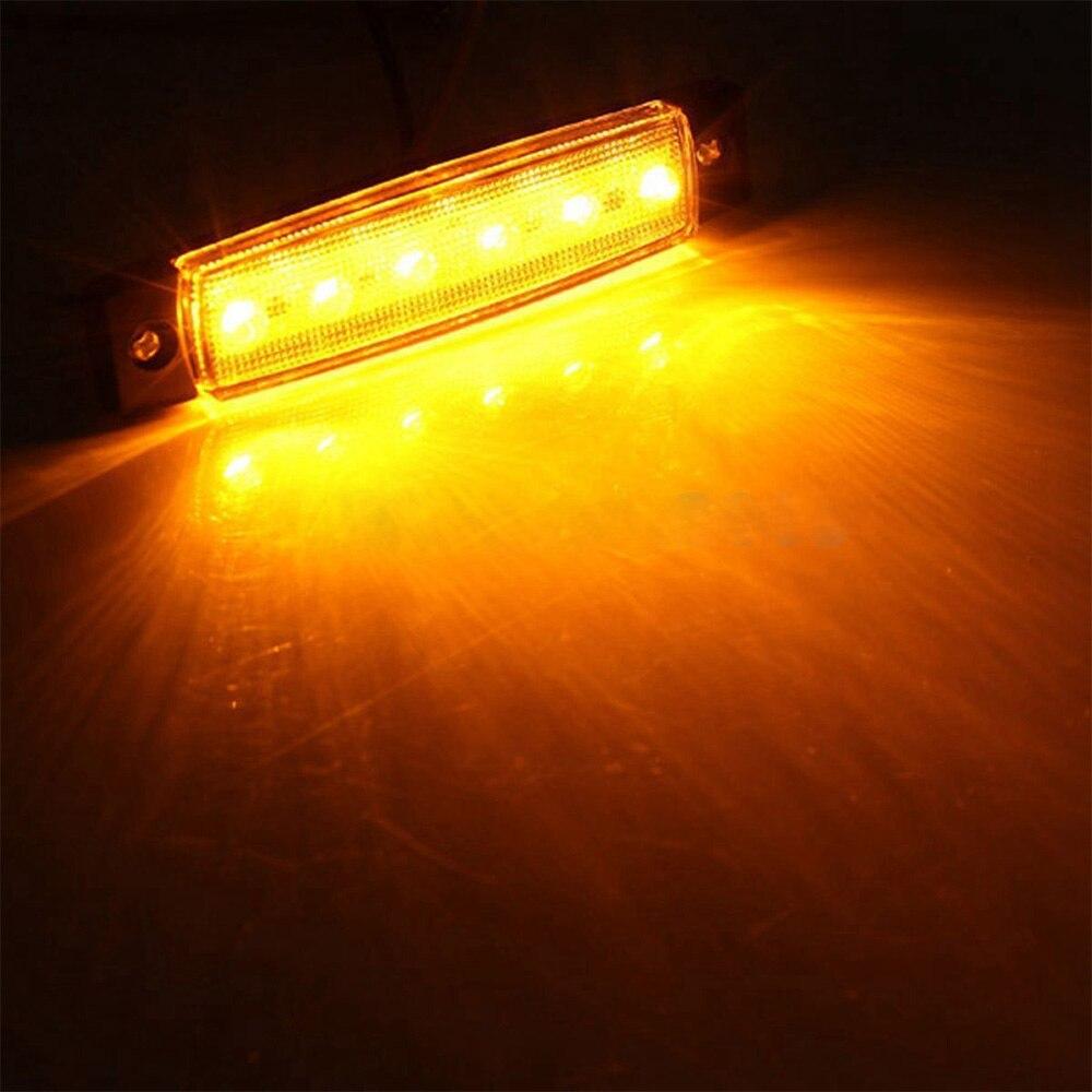 10 шт. желтый автомобильный внешний свет светодиодный 24 в 6 Автомобильный светодиодный SMD автомобильный Автобус Грузовик вагон боковой марке...