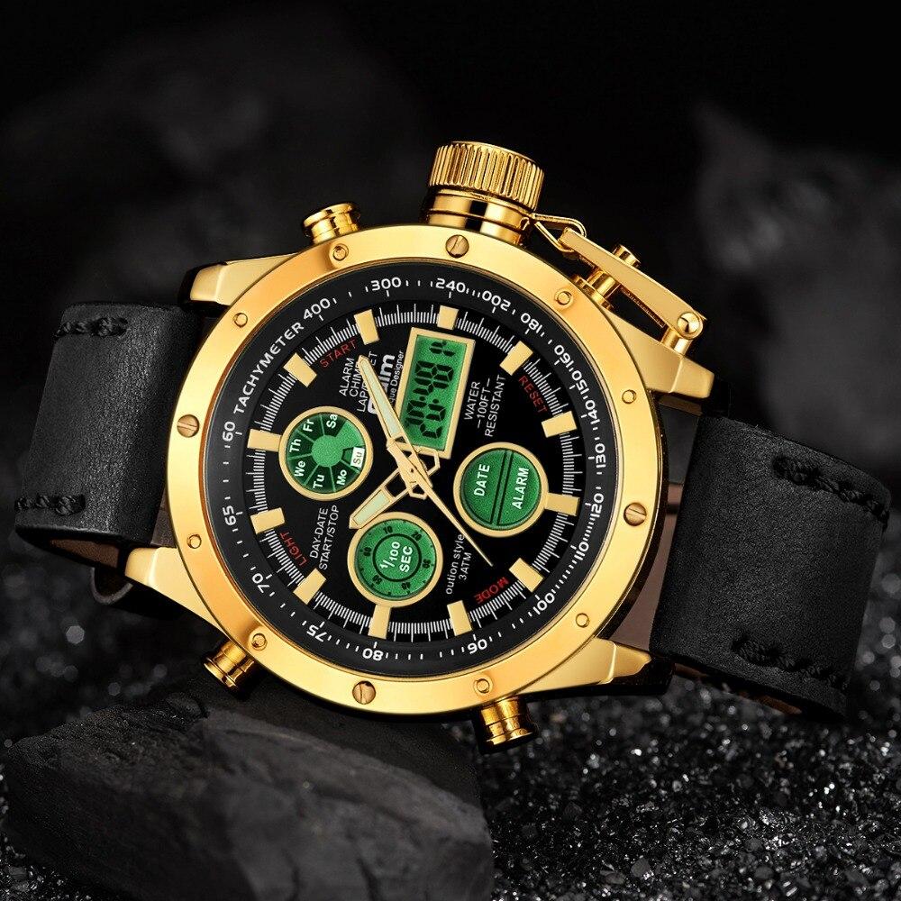 5e28f89a1377 Aliexpress.com  Comprar OULM moda deporte reloj hombres oro doble tiempo  analógico Digital reloj alarma calendario pantalla LED cuero reloj  masculino ...