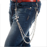 Men 2 Layers Cowboy Skull Cross Leather Braid Cuban Chain Key Chain Big Hook Biker Trucker