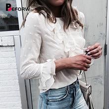 c83694619eb BEFORW сексуальный перспективы блузка рубашка 2018 новый женская мода В  горошек белый топ блузка женская Бабочка с длинным рукав.
